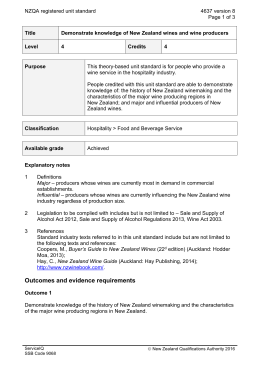 NZQA registered unit standard 4637 version 8  Page 1 of 3