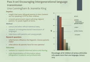 Pass it on! Encouraging intergenerational language transmission Una Cunningham & Jeanette King