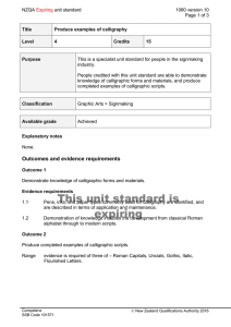 NZQA unit standard 1060 version 10