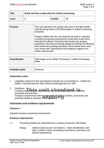NZQA unit standard 8228 version 9