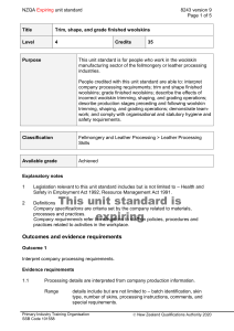 NZQA unit standard 8243 version 9