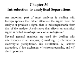 Chapter 30 Introduction to analytical Separations