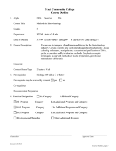 2008.52 - Biology (BIOL) 226: Methods in Biotechnology, Course Outline
