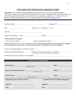NEW EMPLOYEE OFFICE/SPACE REQUEST FORM