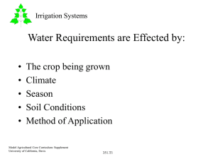 Water Requirements are Effected by: • The crop being grown • Climate