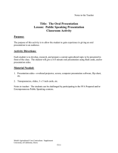 Title:  The Oral Presentation Lesson:  Public Speaking Presentation Classroom Activity