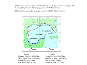 Detailed movements of green sea turtles Roberta and Zyanya, from... Lechuguillas,Mexico to the foraging grounds off the Florida Keys.