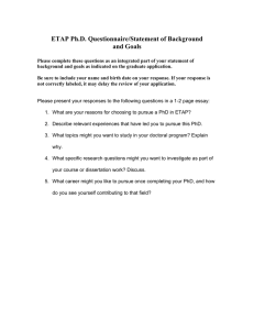 ETAP Ph.D. Questionnaire/Statement of Background and Goals