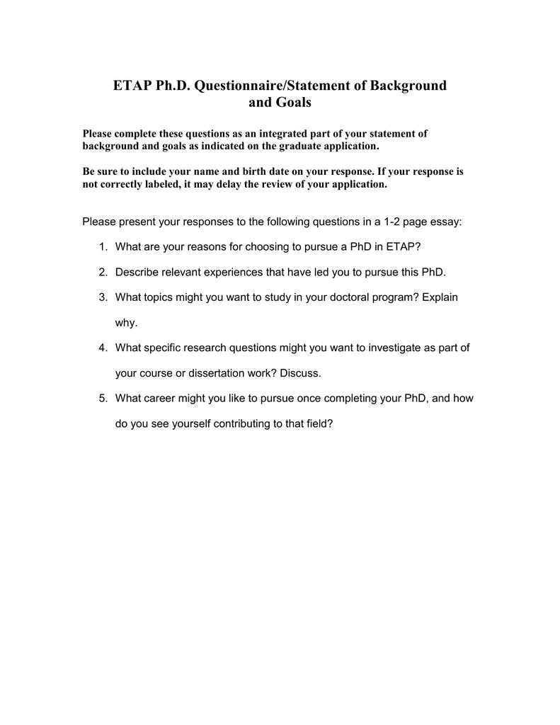 ETAP Ph D  Questionnaire/Statement of Background and Goals