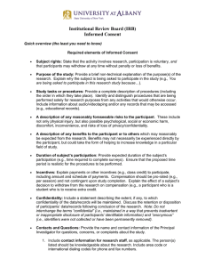 Institutional Review Board (IRB) Informed Consent