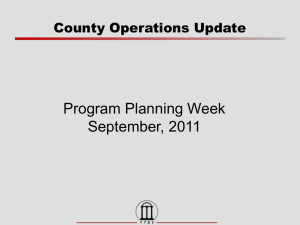 Program Planning Week September, 2011 County Operations Update