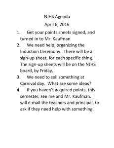 NJHS Agenda April 6, 2016 1. Get your points sheets signed, and