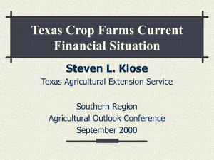 Crop Farmers - Current Financial Situation