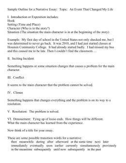 narrative essay notes sample outline for a narrative essay topic an i introduction
