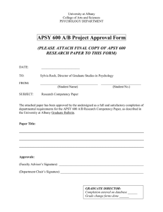 APSY 600 A/B Project Approval Form  RESEARCH PAPER TO THIS FORM)
