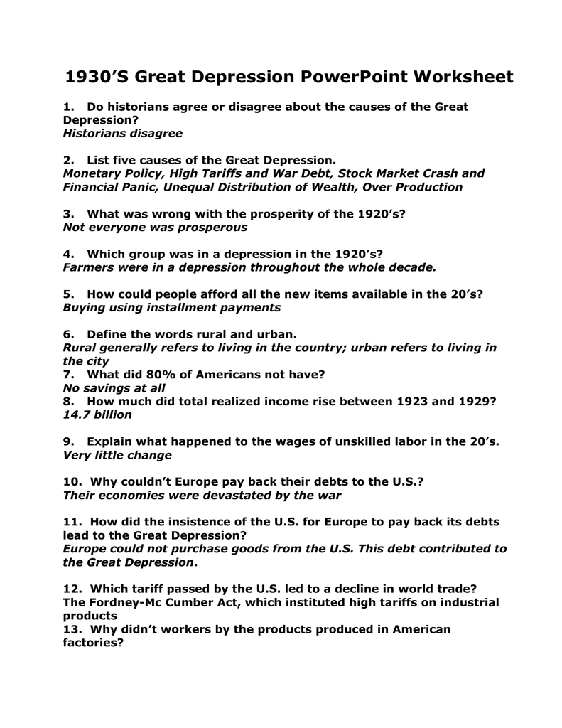 1930S Great Depression PowerPoint Worksheet – Causes of the Great Depression Worksheet