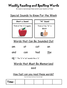 Weekly Reading and Spelling Words