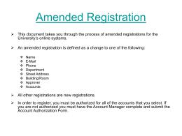 Amended Registration