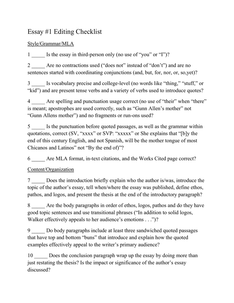 essay 1 editing checklist