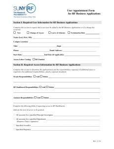 RF Business Applications Access Request Form