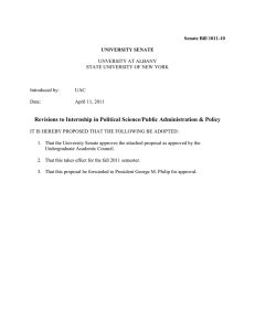 Revisions to Political Science/Public Admin Policy Internship