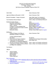 COUNCIL ON RESEARCH MEETING Wednesday, February 16, 2011 9:30 – 11:30 am