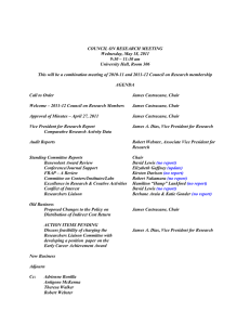 COUNCIL ON RESEARCH MEETING Wednesday, May 18, 2011 9:30 – 11:30 am