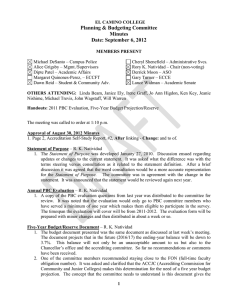 Planning & Budgeting Committee Minutes Date: September 6, 2012