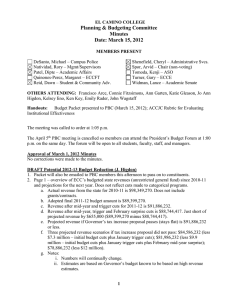 Planning & Budgeting Committee Minutes Date: March 15, 2012