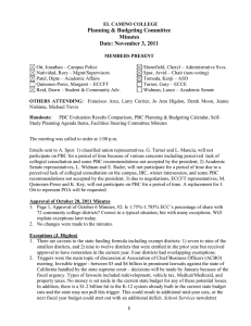 Planning & Budgeting Committee Minutes Date: November 3, 2011
