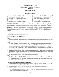 Planning & Budgeting Committee Minutes Date: April 21, 2011