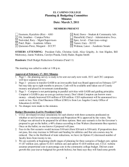 Planning & Budgeting Committee Minutes Date: March 3, 2011