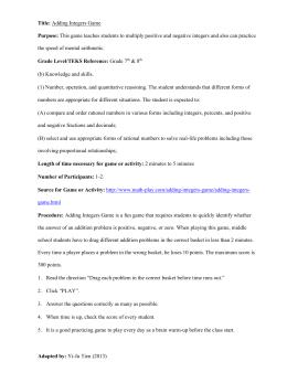 Adding Integers-Rational Numbers Worksheet