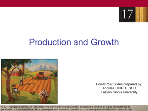 Production and Growth PowerPoint Slides prepared by: Andreea CHIRITESCU Eastern Illinois University