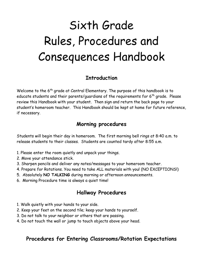 Sixth Grade Handbook 2012 3ff3b695cc7a8