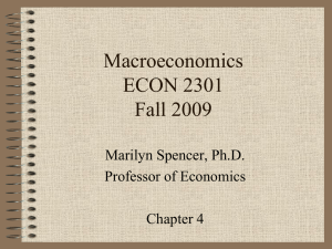 Macroeconomics ECON 2301 Fall 2009 Marilyn Spencer, Ph.D.
