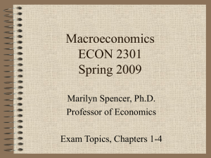 Macroeconomics ECON 2301 Spring 2009 Marilyn Spencer, Ph.D.