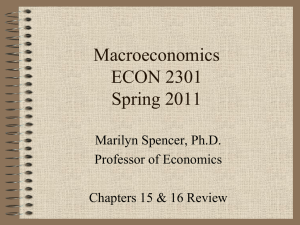 Macroeconomics ECON 2301 Spring 2011 Marilyn Spencer, Ph.D.