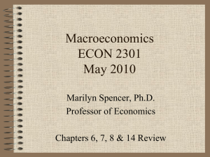 Macroeconomics ECON 2301 May 2010 Marilyn Spencer, Ph.D.