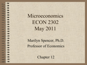 Microeconomics ECON 2302 May 2011 Marilyn Spencer, Ph.D.