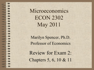 Microeconomics ECON 2302 May 2011 Review for Exam 2: