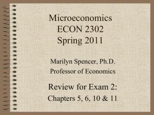 Microeconomics ECON 2302 Spring 2011 Review for Exam 2: