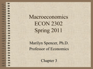 Macroeconomics ECON 2302 Spring 2011 Marilyn Spencer, Ph.D.