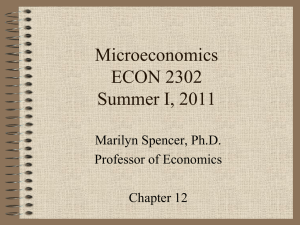 Microeconomics ECON 2302 Summer I, 2011 Marilyn Spencer, Ph.D.
