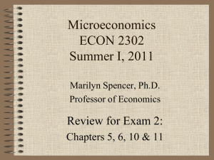 Microeconomics ECON 2302 Summer I, 2011 Review for Exam 2: