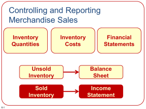 Controlling and Reporting Merchandise Sales Inventory Financial