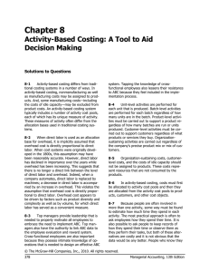 Chapter 8 Activity-Based Costing: A Tool to Aid Decision Making
