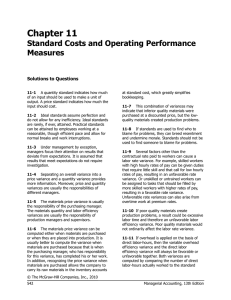 Chapter 11 Standard Costs and Operating Performance Measures Solutions to Questions