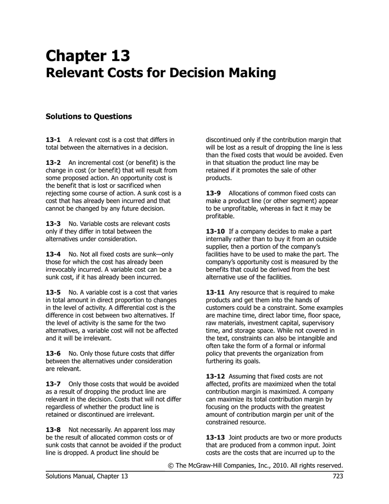 relevant cost for decision making solution chapter 13