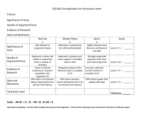 EED 601 Scoring Rubric for Persuasive Letter Criteria: Significance of Issue